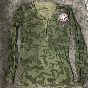 Camo long sleeve shirt. New with tags